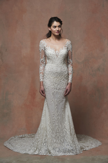 Natural waist trumpet with off-the-shoulder illusion neckline, intricate ivory beadwork, with sheer back.