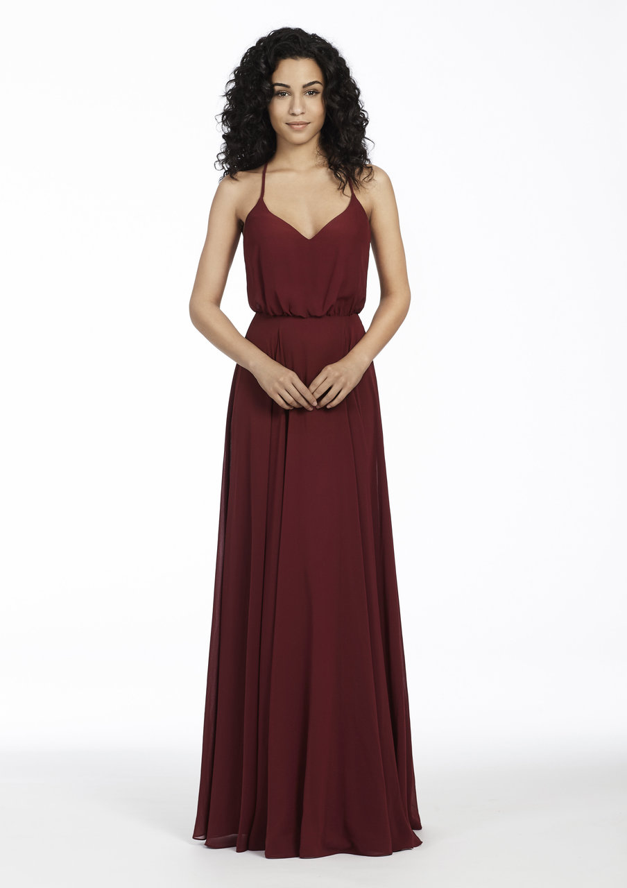 Burgundy chiffon A-line bridesmaid gown, bloused bodice with curved V-neckline, natural waist, circular skirt.