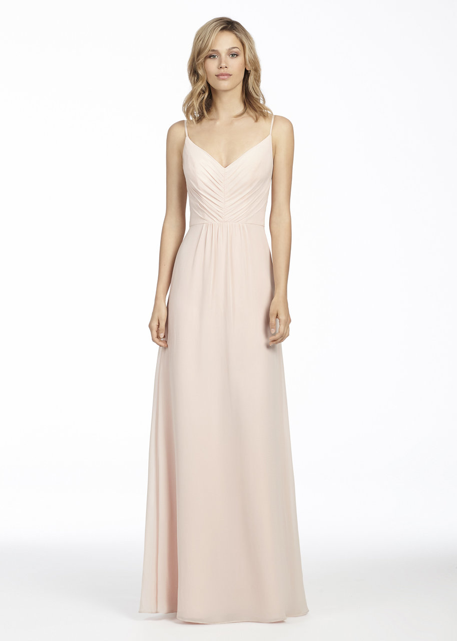 Blush chiffon A-line bridesmaid gown, draped V-neck bodice, natural waist, soft gathered skirt.