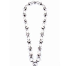Desirable Burnished Silver Chain and Swarovski Crystal Link Necklace