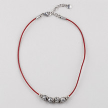 Petite Edie Red Leather Necklace (N1733)