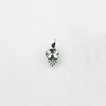 Petite chrysolite Swarovski® crystal pendant with filigree detail