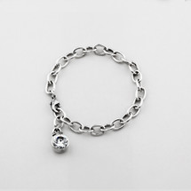 Burnished silver extender with a classic Swarovski® crystal charm (can be worn as a bracelet)
