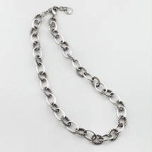 Nautical burnished silver necklace - 50 cm plus extender
