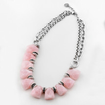 Rose quartz and burnished silver bib necklace with detailed beading - 46 cm plus extender