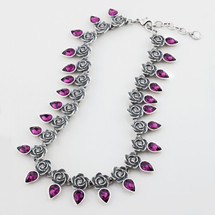 Full-blown rose and amethyst Swarovski® crystal teardrop necklace - 40 cm plus extender