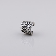 Floral arabesque decal ring in burnished silver plating