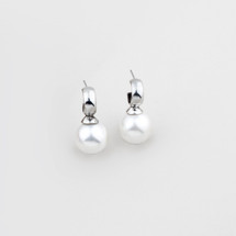 Lustrous white shell pearl drop earrings with burnished silver caps