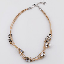 Tan leather necklace with twist-and-turn elements and classic Swarovski® crystals - 45 cm plus extender