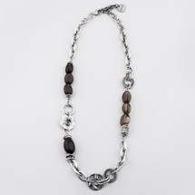 Mixed chain and textured link burnished silver necklace adorned with smoky quartz beads - 69 cm plus extender