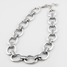 Bold chain and link necklace encrusted with classic Swarovski® crystals - 40 cm plus extender/ 47 cm plus extender