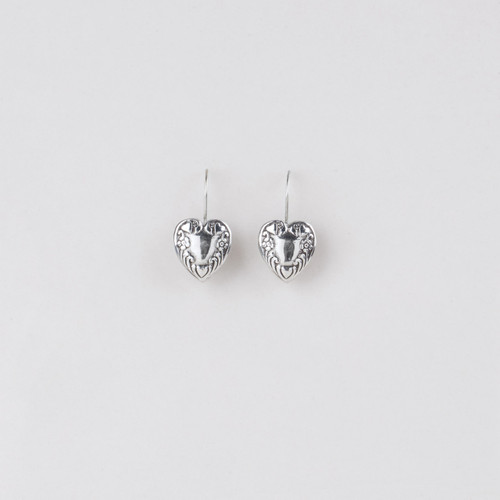 Detailed burnished silver plated heart earrings