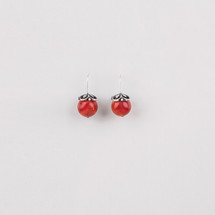Burnished silver plated drop earrings with red beads