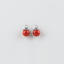 Burnished silver plated Pretty Woman Earring Charms with red beads