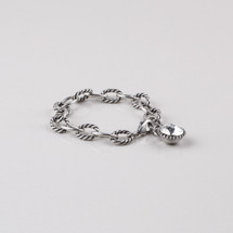 Rope detailed burnished silver plated link extender and bracelet embellished with a Swarovski® crystal. Length 19 cm