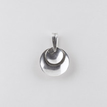 Burnished silver plated disc pendant
