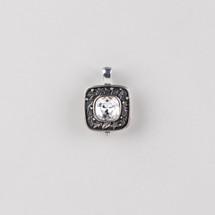 Floral detailed burnished silver plated pendant embellished with a Swarovski® crystal