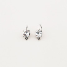 Burnished silver lever-back drop earrings with floral detail featuring classic Swarovski® crystals