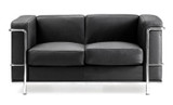 Cubed Reception Two Seater Sofa - Leather Faced