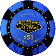 Blue- $50 Poker Chip Pillow