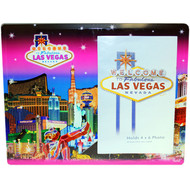 Glass Las Vegas Picture Frame Pink Skyline Design
