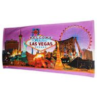 Las Vegas Souvenir Beach Towel- Purple Skyline