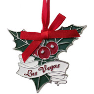 Vegas Misletoe Metal Christmas Ornament