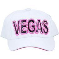 Vegas Cap/Hat White & Pink