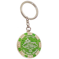LV Green Glitter Poker Chip Keychain