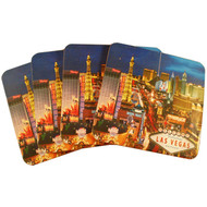 Las Vegas Strip Design Cork Coaster Set of 4