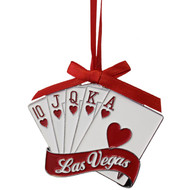 Las Vegas Royal Flush Metal Christmas Ornament