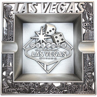 Metal Las Vegas Ashtray w/Welcome Sign