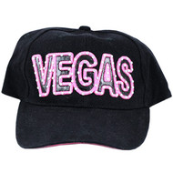 Las Vegas Souvenir Hat/Cap Black with Pink Outline