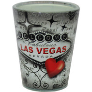 Red & Gray Shotglass- Souvenir Las Vegas