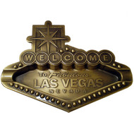 Metal Gold Welcome Sign Shape Ashtray- Las Vegas