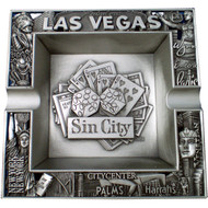 Sin City w/Dice Pewter Metal Ashtray
