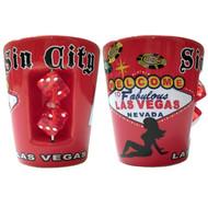 """Sin City"" Red Las Vegas Dice Shot Glass"
