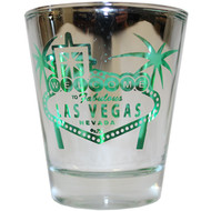 Silver Sign Las Vegas Shotglass- GREEN