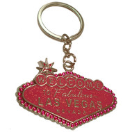 """Las Vegas"" Pink Glitter and Rhinestone Welcome Sign Keyring"