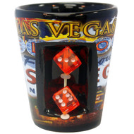 Las Vegas Ceramic Shotglass w/Dice- Flag design