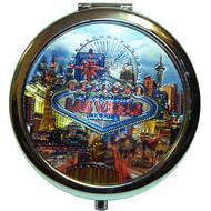 "Las Vegas ""Neon"" Round Compact Mirror"