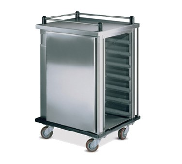 """Value-Line Tray Delivery Cart, single compartment, enclosed style, non pass thru, 12 capacity, 14"""" x 18"""" or 15"""" x 20"""" trays, pull type door with drop latch, stainless steel construction, (4) 5"""" casters, 2 swivel with brakes; 2 fixed without brakes (ICT/12)"""