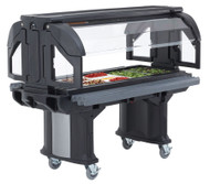 "Versa Food Bars Serving Buffet, cold food, 5 ft. unit, 69"" OAL x 42-1/2""W x 62-3/4""H, holds (4) full size pan, accommodates various size food pans up to 6"", cooled with optional Camchillers® or Cold Fest®, double-wall polyethylene, molded-in handles, threaded faucet drain, non-electrical, (4) 6"" swivel casters with brakes, black, NSF"