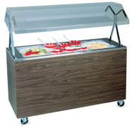 "Affordable Portable™ Cold Food Station, non-refrigerated, (3) pan, 46""W x 39-1/2""D x 35""H, 6""deep stainless well with 1"" drain, 35""H work surface, includes buffet style acrylic breath guard with 12"" clearance, walnut woodgrain finish solid base, (4) locking casters, NSF, Made in USA."
