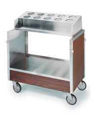 "Tray & Silver Cart, accepts (10) flatware cylinders (not included), enclosed style, for (120) 16"" x 22"" trays, stainless steel shelf, stainless steel angle frame with push handle, 500 lb. load capacity. Call for pricing."