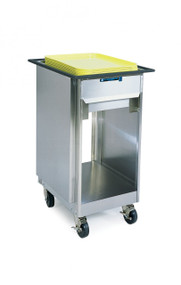 "Tray Dispenser, cabinet style, open base, mobile, single self-leveling tray platform, for 14"" x 18"" or 15"" x 20"" trays, stainless steel construction, 4"" swivel casters (2) with brakes, NSF"