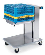 """Tray & Glass/Cup Rack Dispenser, cantilever style, mobile, (1) self-leveling tray platform, for 20"""" x 20"""" trays, stainless steel construction, 4"""" swivel casters (2) with brakes, NSF"""