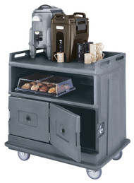 """Beverage Service Cart, flat top, 44-1/2""""L x 30""""W x 44""""H, polyethylene construction, solid undershelf & (2) insulated compartments with latching doors, 6"""" casters (2 fixed, 2 swivel, 1 with brake), granite gray, NSF"""