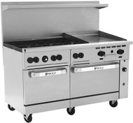 "Shown with optional casters.Challenger XL™ Restaurant Range, 60"", gas, (6) 30,000 BTU burners with lift-off burner heads, 24"" manual griddle, 7/8"" thick, 4"" wide front grease trough, (1) standard oven on left, (1) convection on right, stainless steel front, sides, back riser & high shelf, fully-welded chassis, 6"" adjustable legs, 290,000 BTU, CSA, NSF"