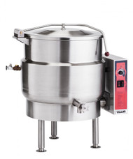 "Stationary Kettle, Gas, 40-gallon true working capacity, 2/3 jacketed, Ellipsoidal bottom design, spring assist cover with condensate ring, 2"" compression draw-off valve with perforated strainer, faucet bracket, stainless steel construction, 100,000 BTU"